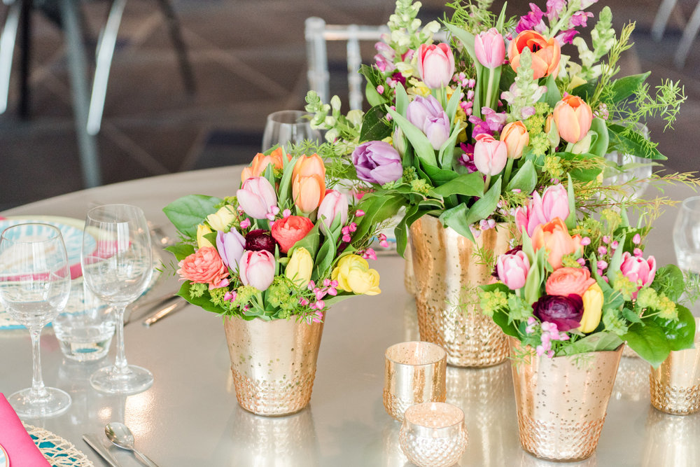 Bright flower, tulip centerpieces,  Jessica Wonders Events, Minneapolis, MN