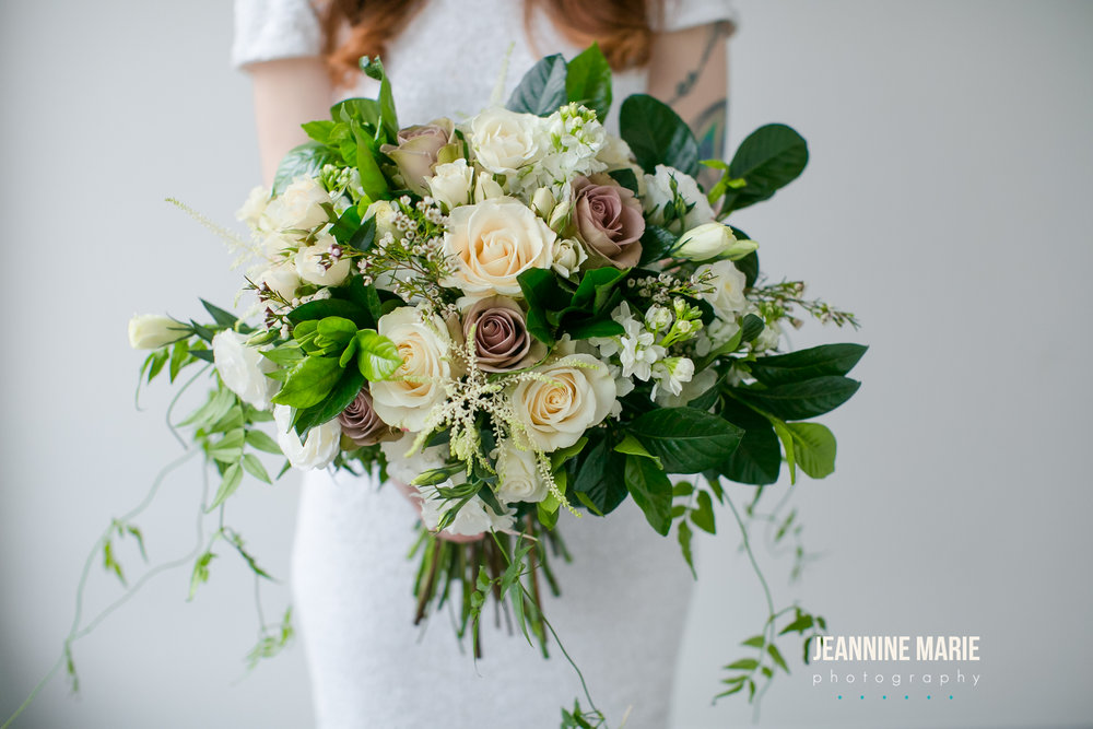 Hand tied, white, ivory, mauve whimsicle bridal bouquet  Jessica Wonders Events, Minneapolis, MN