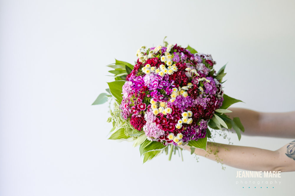 Purple, yellow, pink, white wedding flowers, bridal bouquet  Jessica Wonders Events, Minneapolis, MN