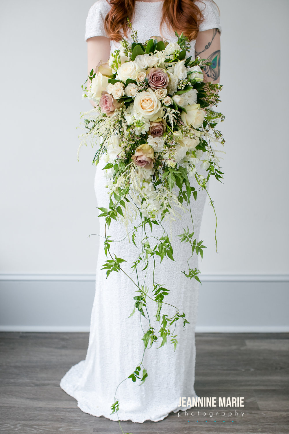 White and ivory and mauve cascade bouquet  Jessica Wonders Events, Minneapolis, MN
