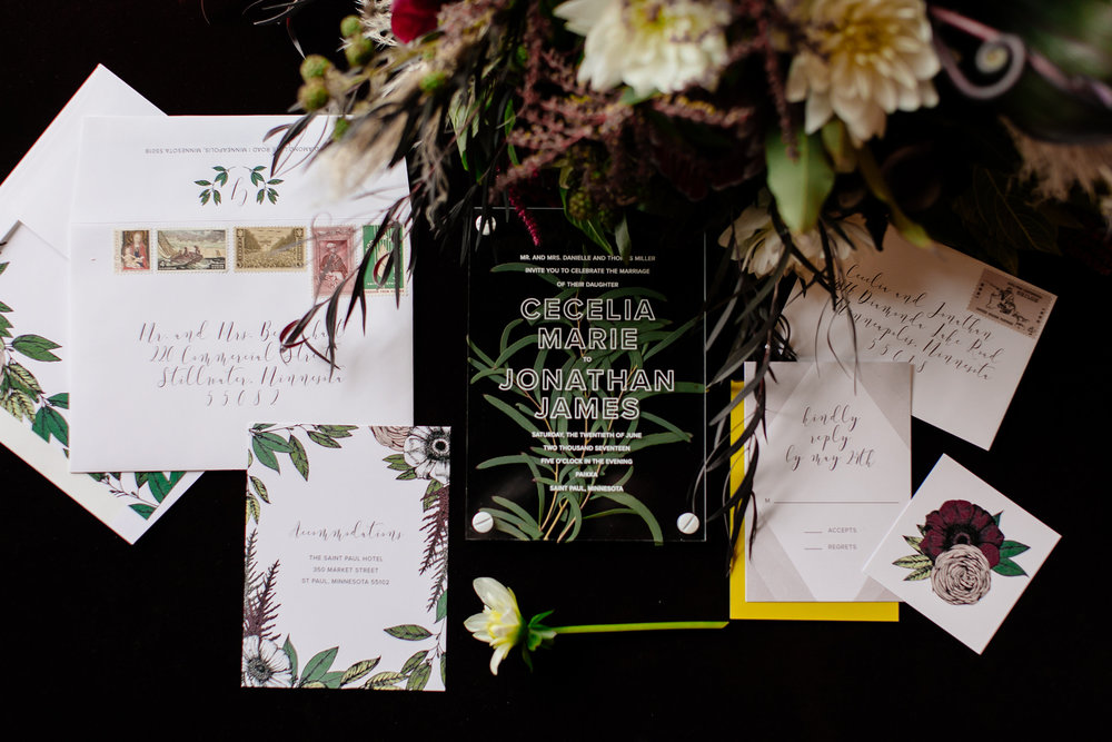 Acrylic and greenery invitations  Jessica Wonders Events, Minneapolis, MN