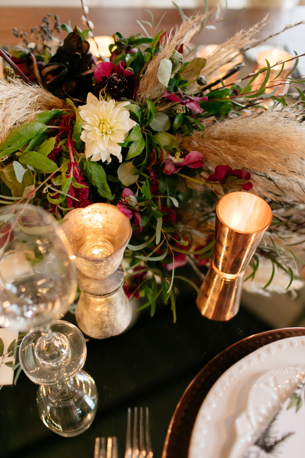 White and ivory, red, marsala and greenery reception centerpieces,  Jessica Wonders Events, Minneapolis, MN