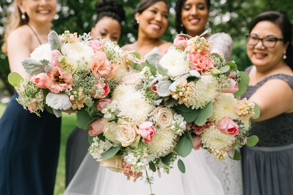 pink, peach, coral, white, ivory, bridal and bridesmaids bouquet, Jessica Wonders Events, Minneapolis, MN