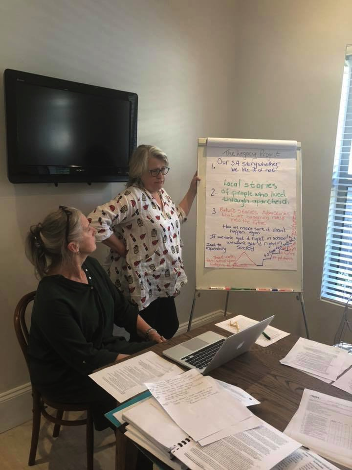 Belongingness Project in Action - Kim van der Hoven (right), the director of Forres School in Rondebosch, and Linda van Duuren co-presented their Belongingness Project on the 7th of November, 2018 to a Narrative consultation and supervision group in Somerset West. The group is run by dr. Elize Morkel. Kim and Linda's presentation also included whole school Narrative practices.Elize shared a beautiful letter about her experience of the Belongingness Project.Read it below.