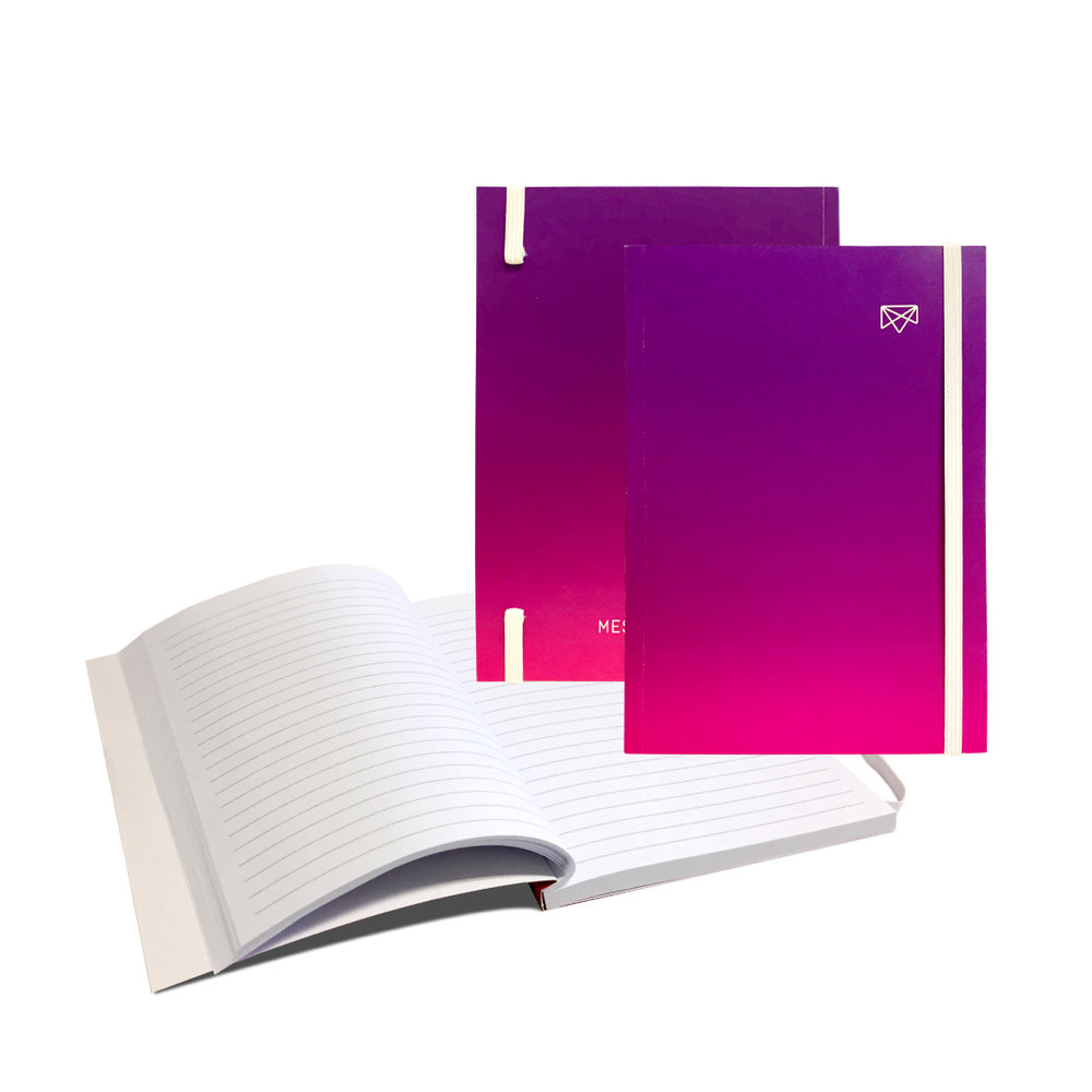 FULL-COLOR BOOK BOUND NOTEBOOK WITH ELASTIC CLOSURE