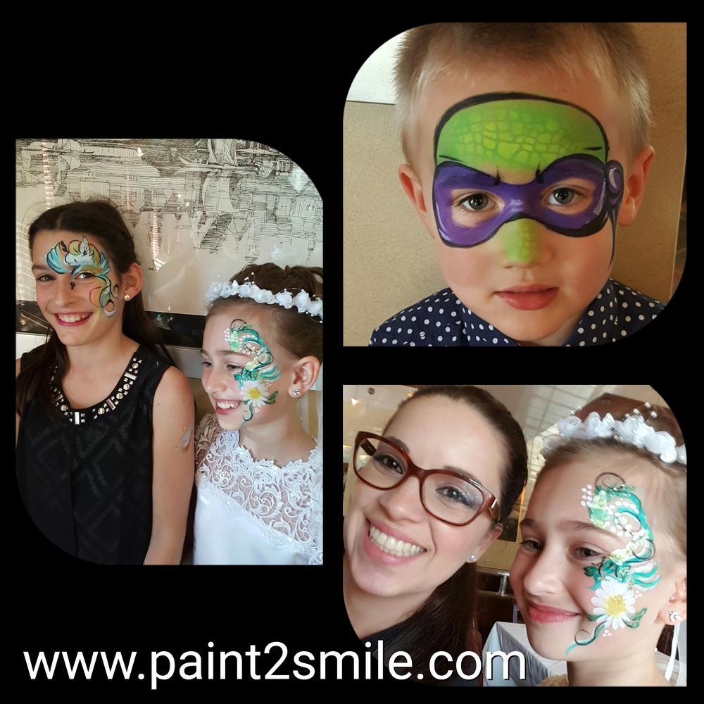 Face painting collage if ninja turtle, daisy and unicorn