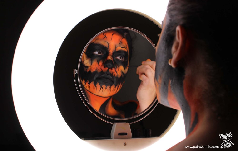jack o lantern face painting mirror