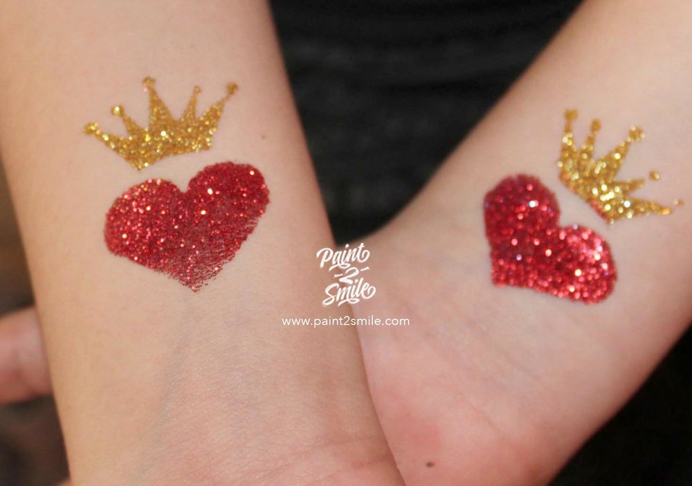 heart and crown glitter tattoos