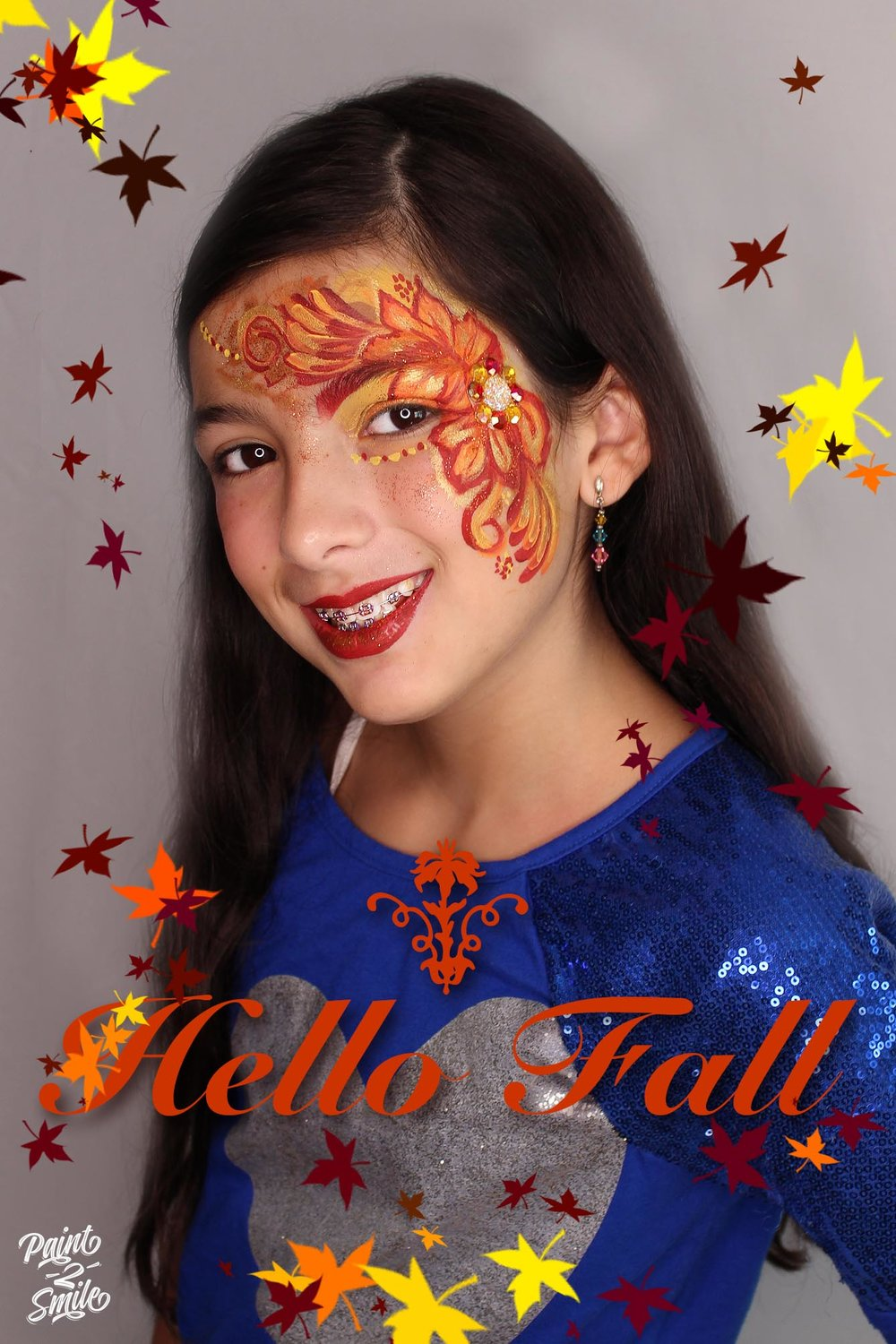 Face painting fall leaves
