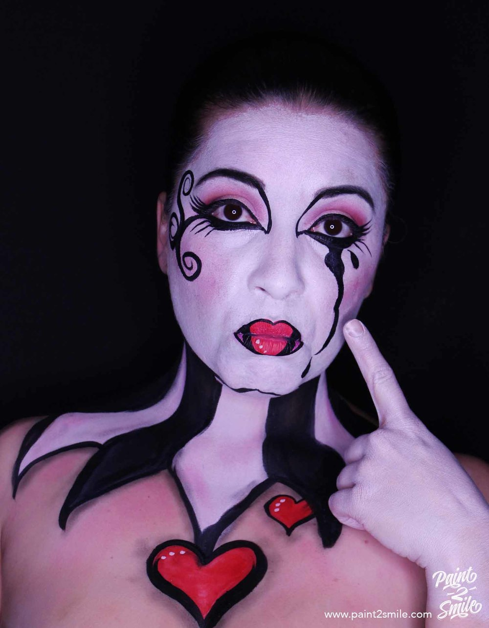 mime adult face painting