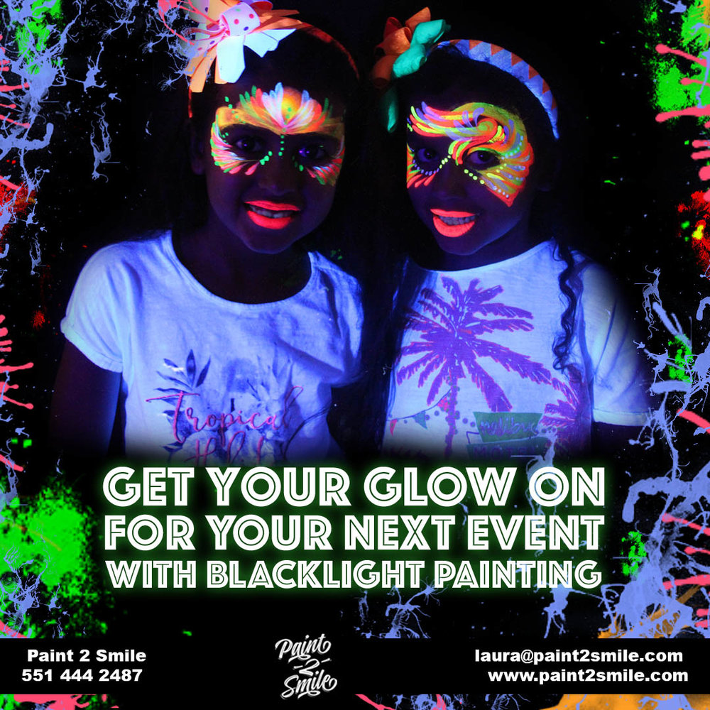 Blacklight glow face painting
