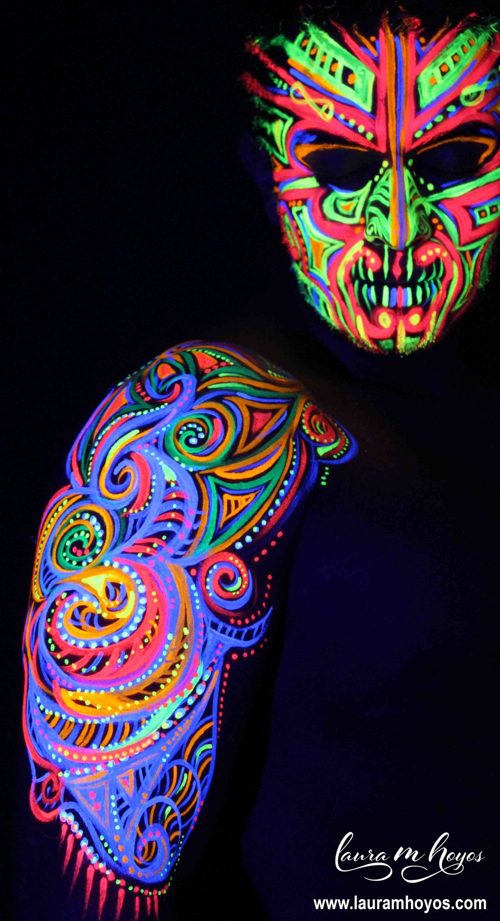 uv blacklight tribal body painting