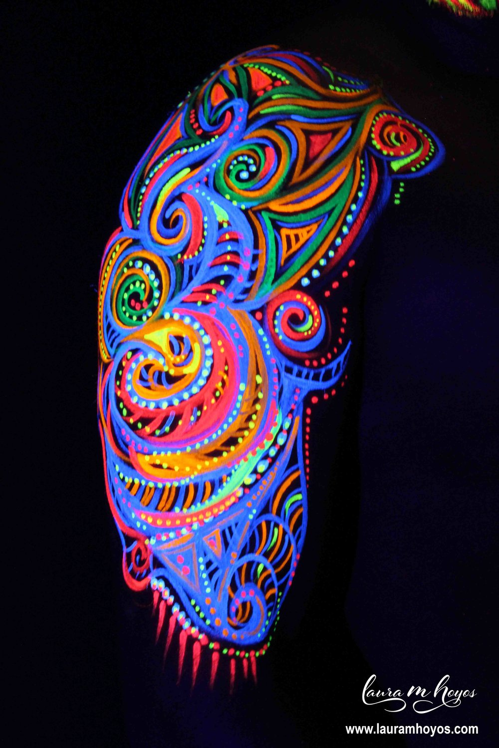 uv blacklight tribal arm body painting