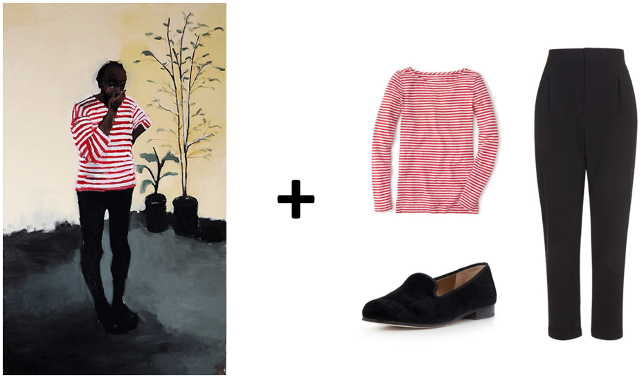 (Art via Gowen Contemporary; Top: J.Crew, Pants: Topshop, Loafers: Lord & Taylor)