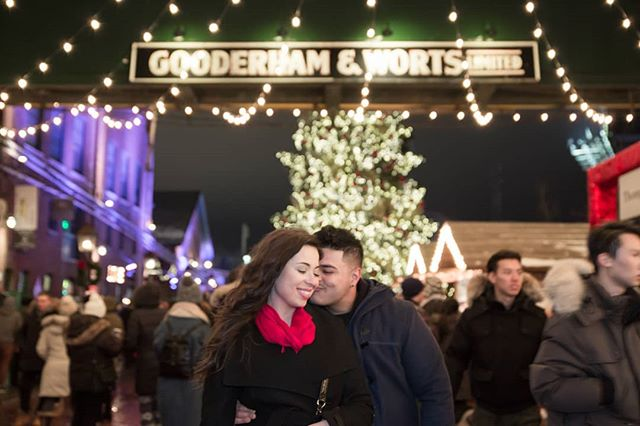 Last shoot of the year. #Proposal #shoot and she said yes. Thanks to the couple.  #Distillery #Christmas #market was super #crowded but we made it work.  #withmytamron #engagementphotos #love #lights #weddingphoto #christmastree #candid #style #city