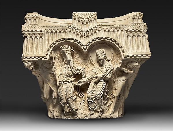 ქალწულისა და მოციქულის კაპიტელი, კირქვა, 1170-იანი წლები. დამზადებულია ნაზარეთში, ინახება ტერა სანქტას მუზეუმში, იქვე. www.metmuseum.org