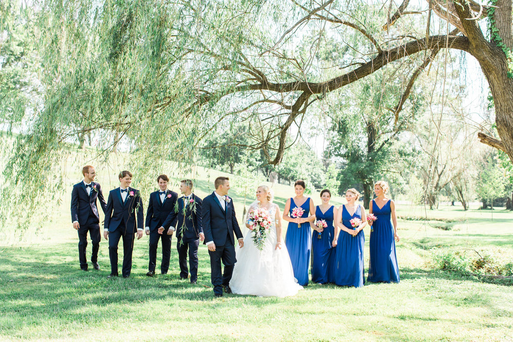 Bridal party portraits- walking under a willow tree at St. Agnes Catholic Church in Louisville ky