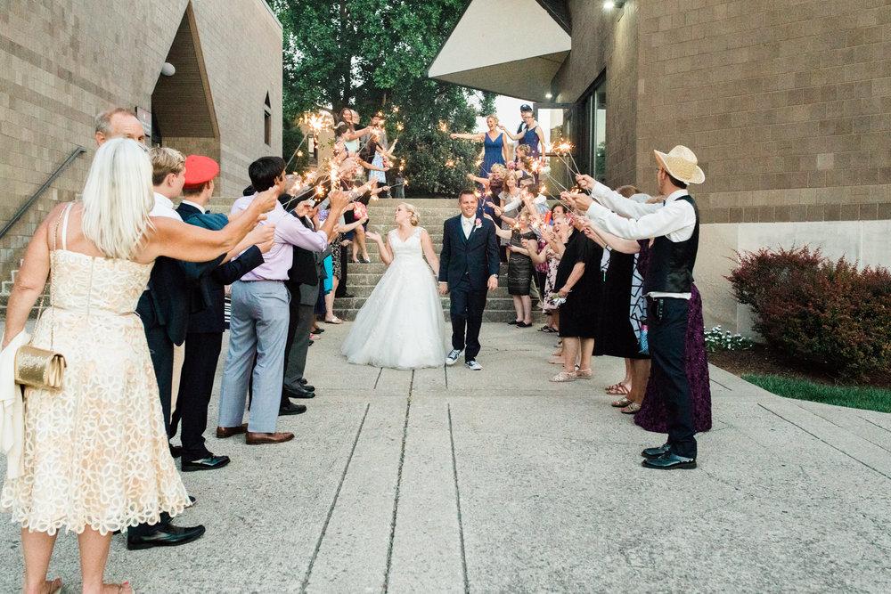 Sparkler exit at bellarmine university wedding reception in louisville ky