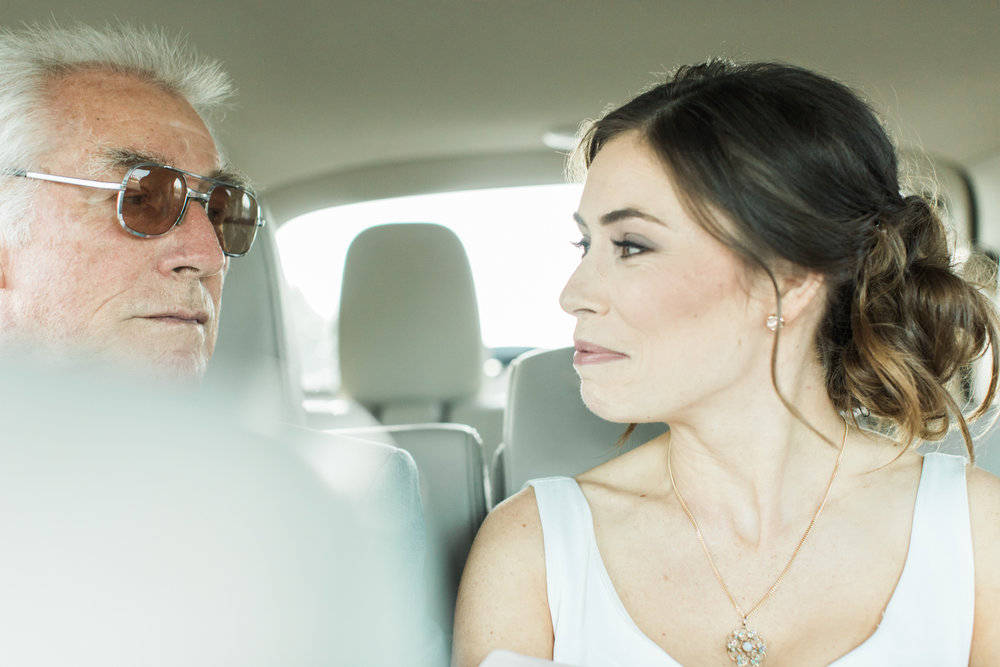 bride and her dad in the car before her wedding in columbus ohio