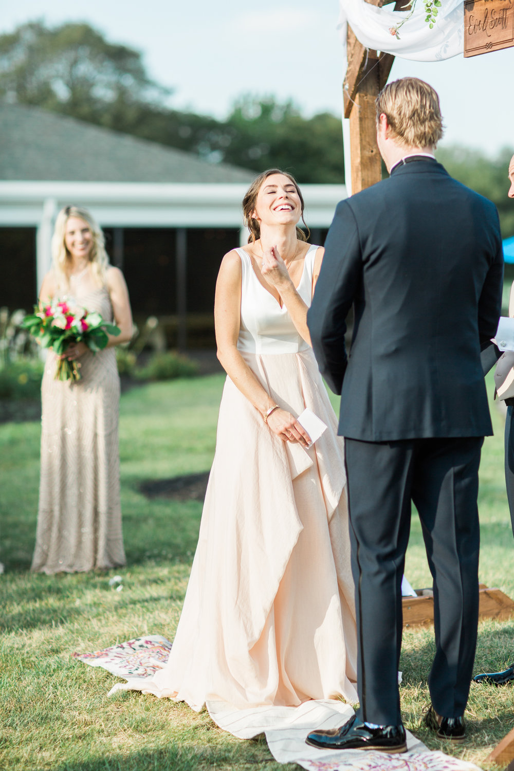 bride laughing at her little turtle club outdoor ceremony in columbus ohio