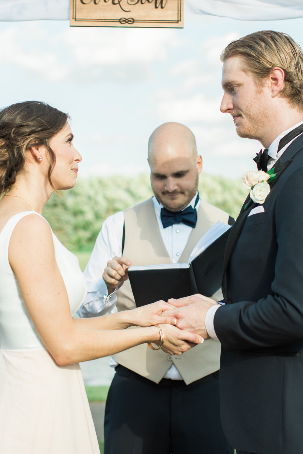 candid close up at little turtle club outdoor wedding ceremony in columbus ohio