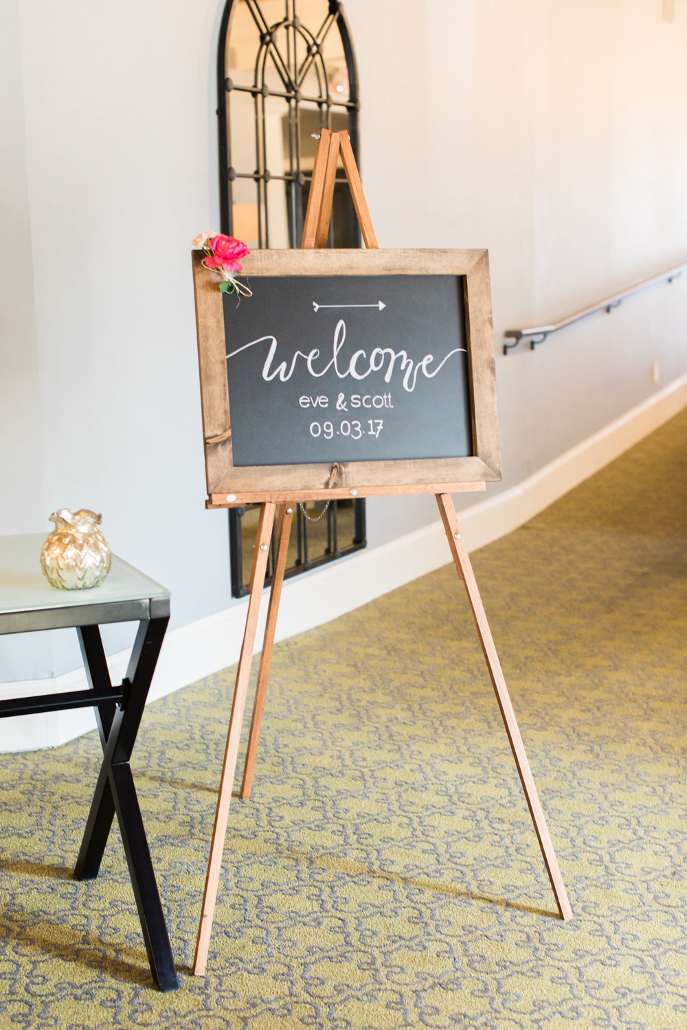 little turtle club welcome sign for wedding in columbus ohio