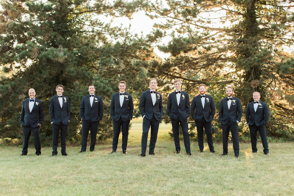 bride and groom outdoor bridal party portraits at little turtle club in columbus ohio