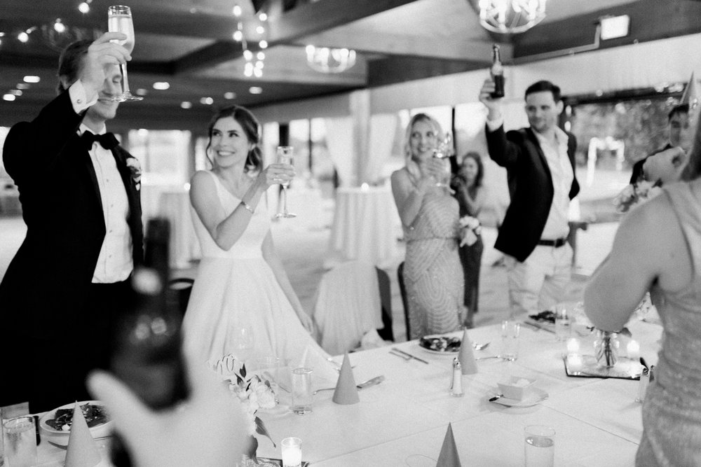 reception toast at little turtle club wedding in columbus ohio