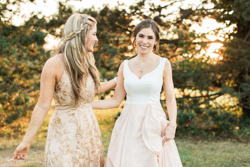 bride and bridesmaid at little turtle wedding in columbus ohio