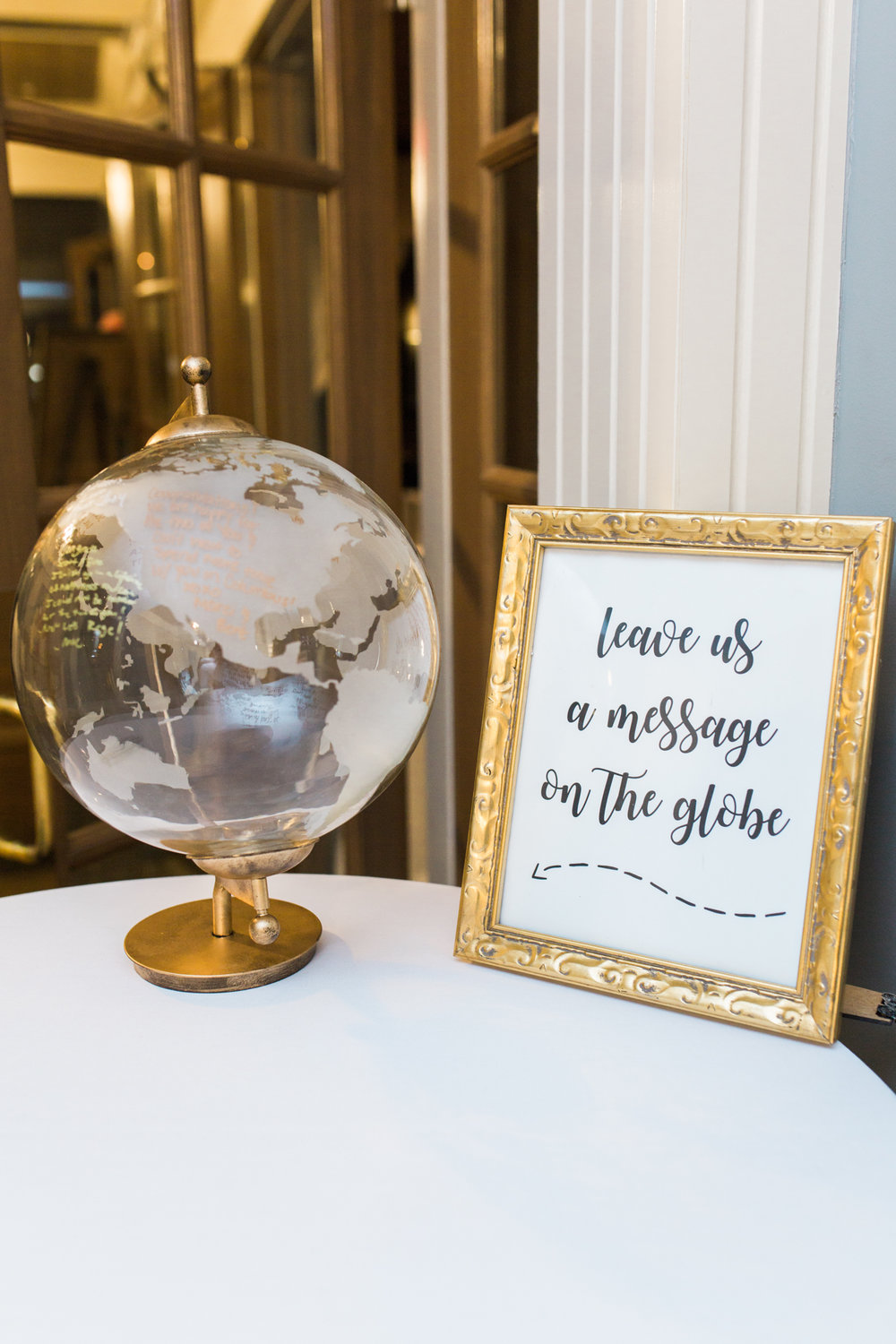 clear and gold globe for wedding guestbook