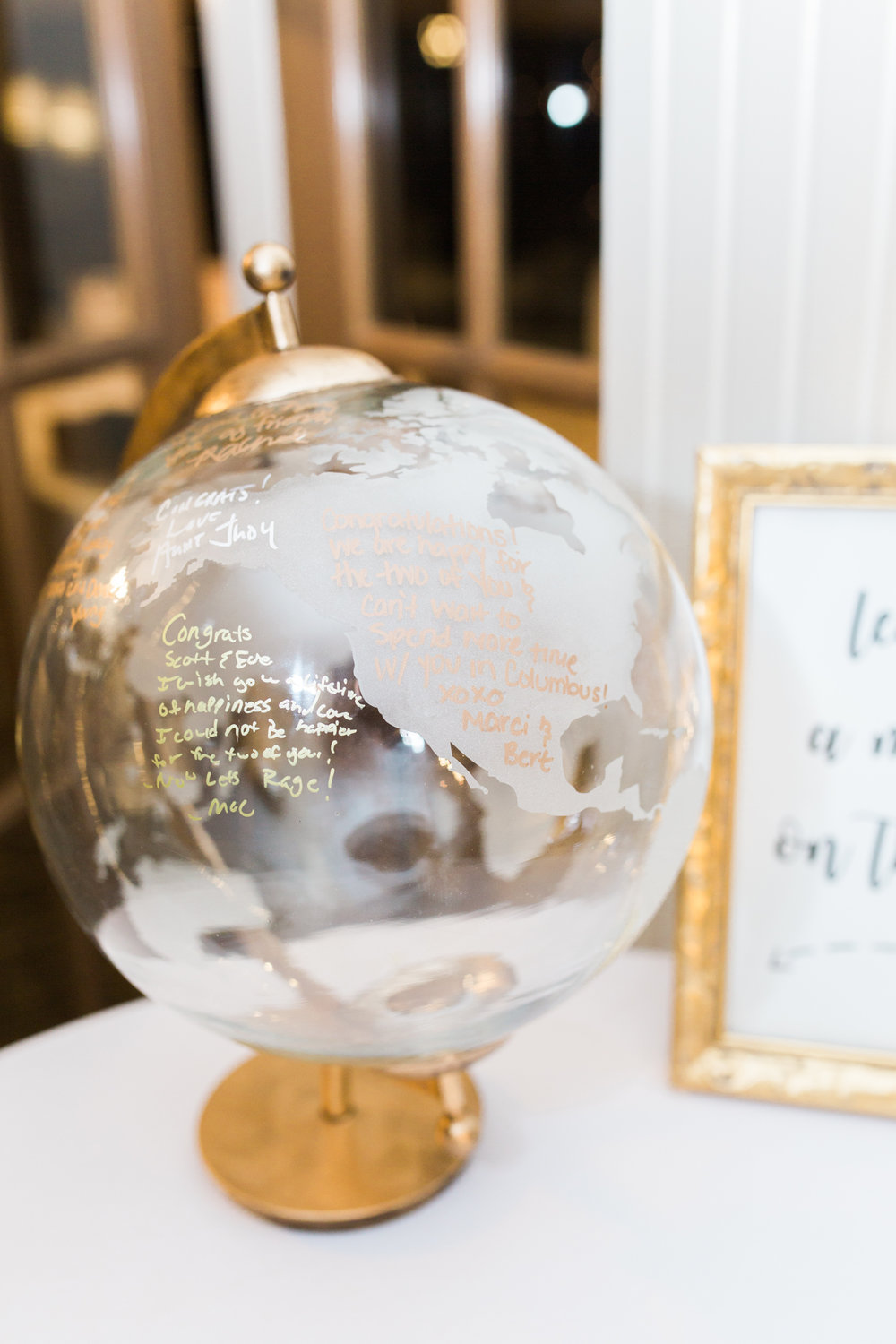 clear and gold globe for guestbook