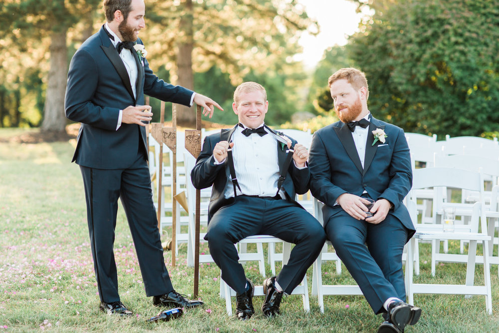 The Little Turtle Club Wedding Groomsmen relaxing