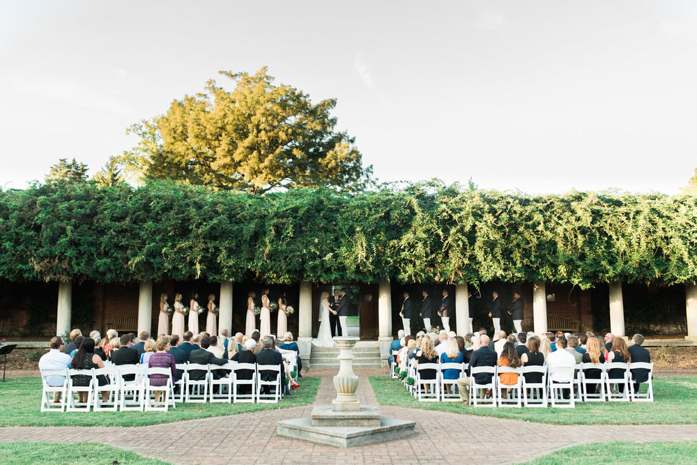 Outdoor wedding ceremony at Gardencourt Louisville