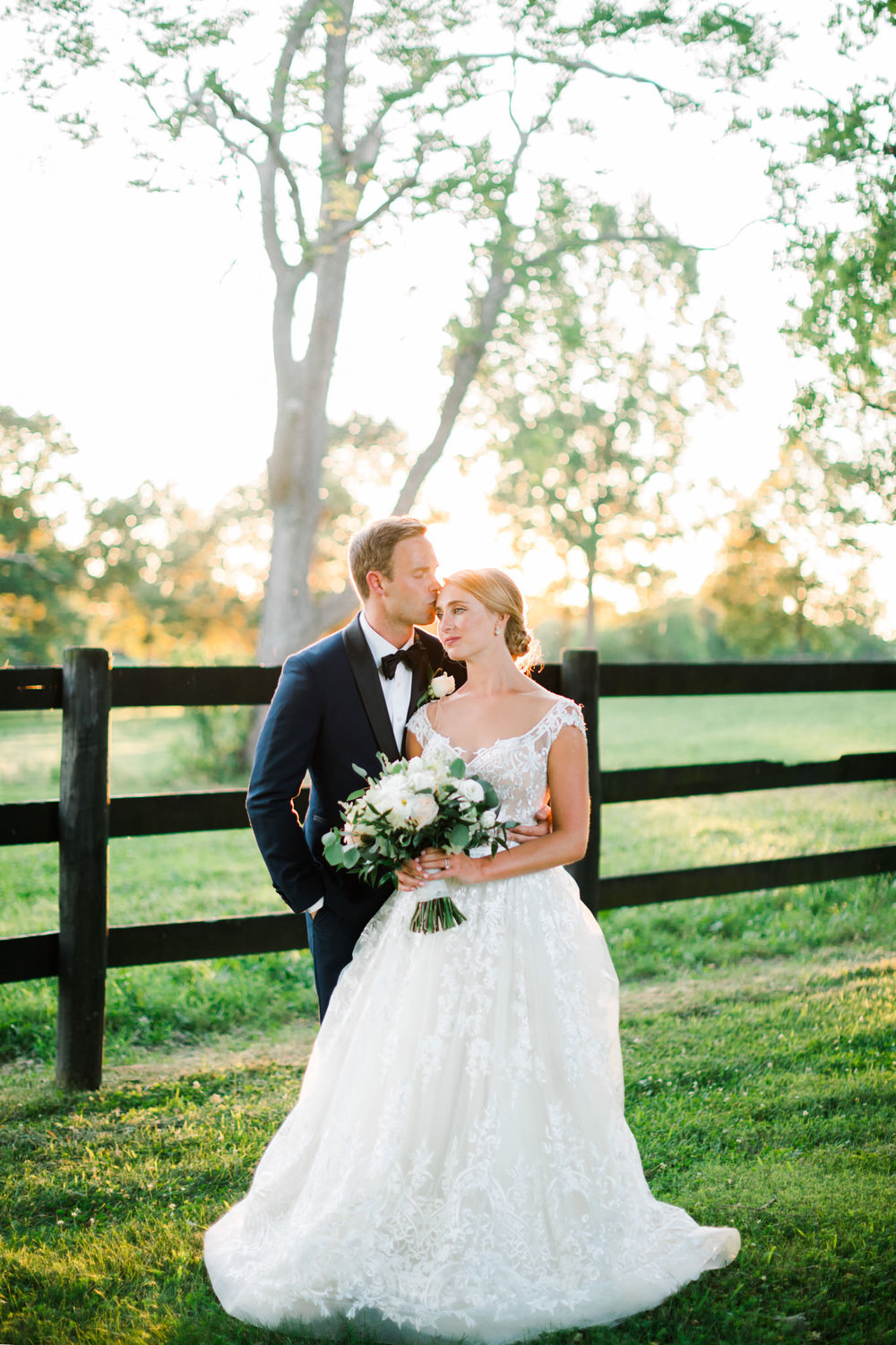 Bride and Groom during Lexington Kentucky Wedding at Polo Born at Saxony Farm