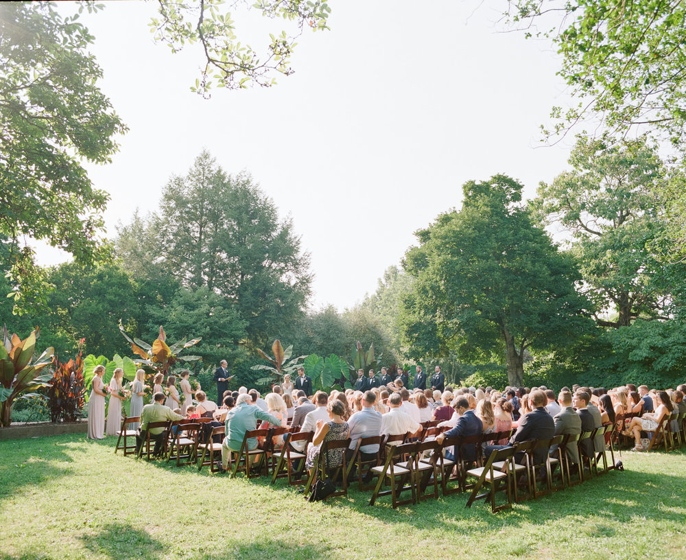 Film wedding photo of Wedding Ceremony at one of the prettiest outdoor wedding venues in Louisville, Kentucky—Yew Dell Botanical Gardens