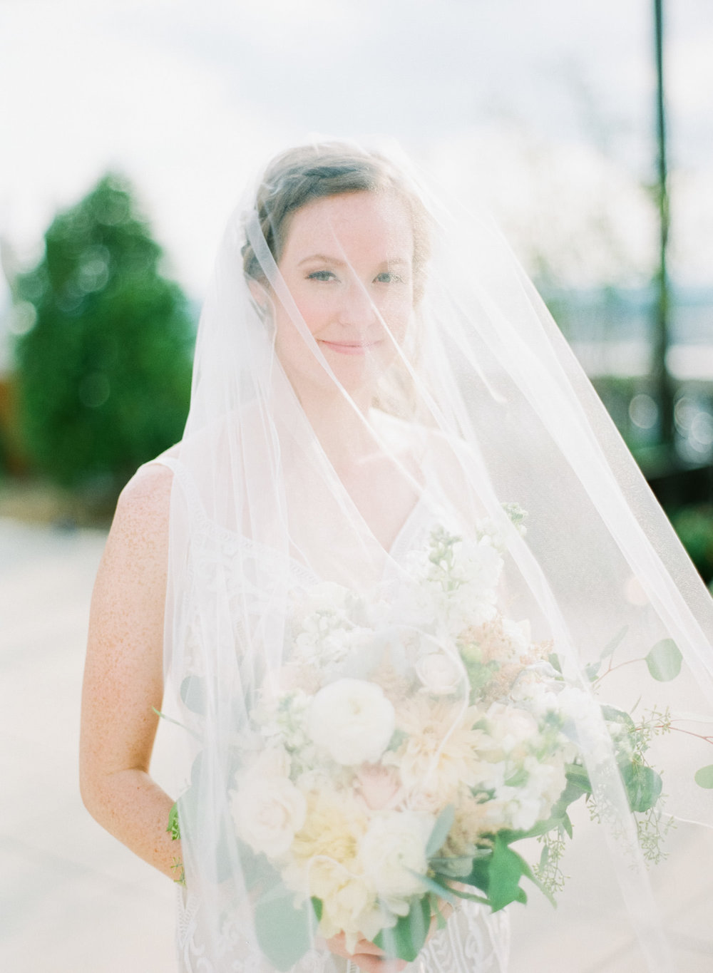 Image of bride under veil taken with Contax 645 and Zeiss 80mm f/2