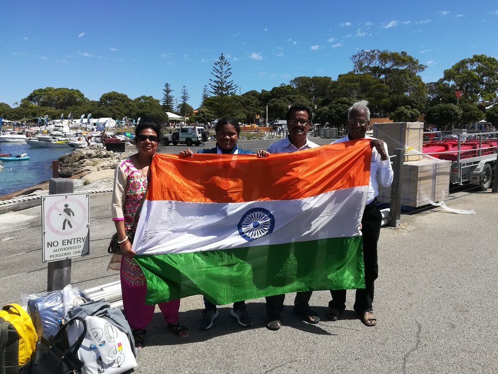 Sayani with flag