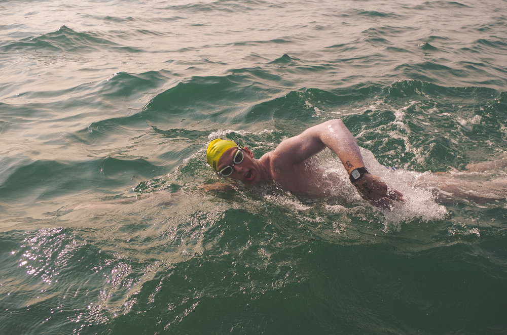 Peter swimming The English Channel. September 2017.