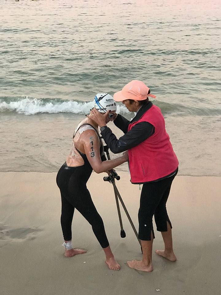 Kat with her mum at Cottesloe Beach before the Rottnest Channel Swim. February, 2018.