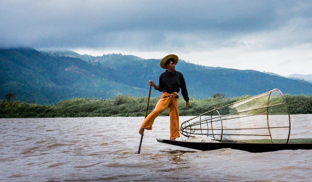 Boatman at Lake Inle by Ann Jones