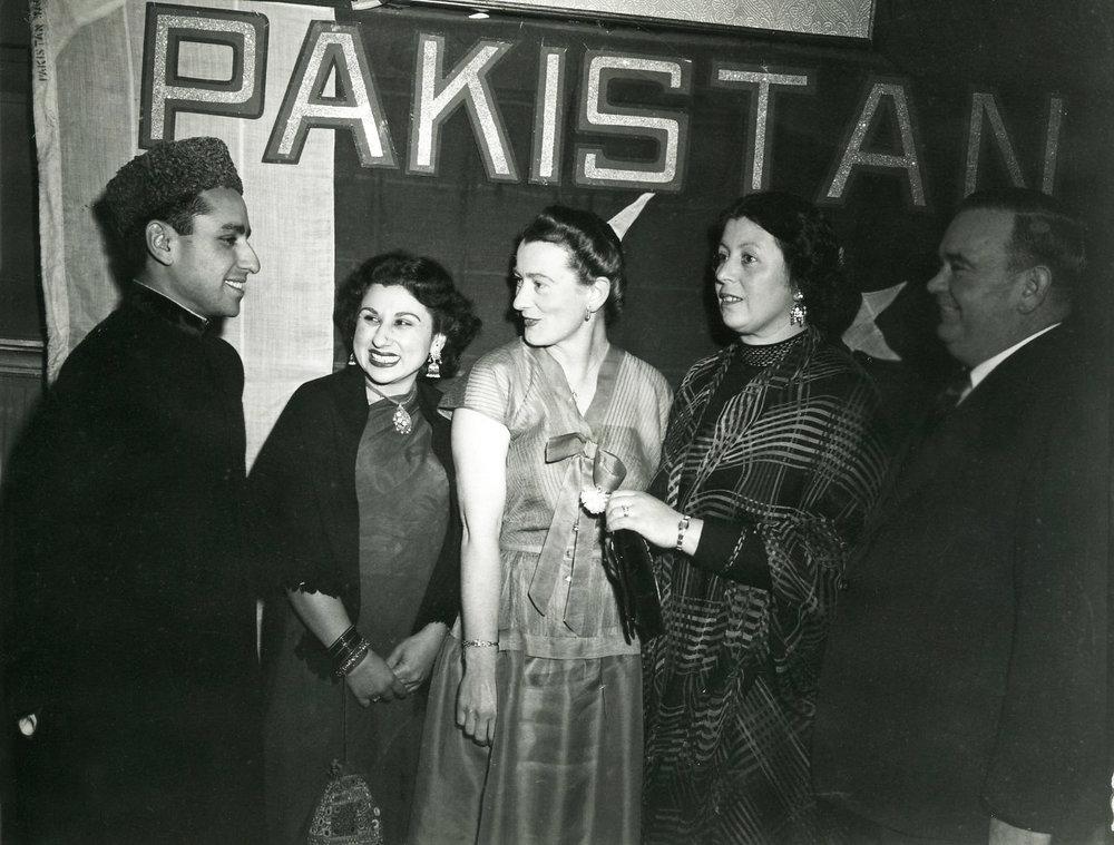 Sadiq Bux and his sister Azra Hodgkinson hosting a Pakistan Day event in Perth circa 1950's