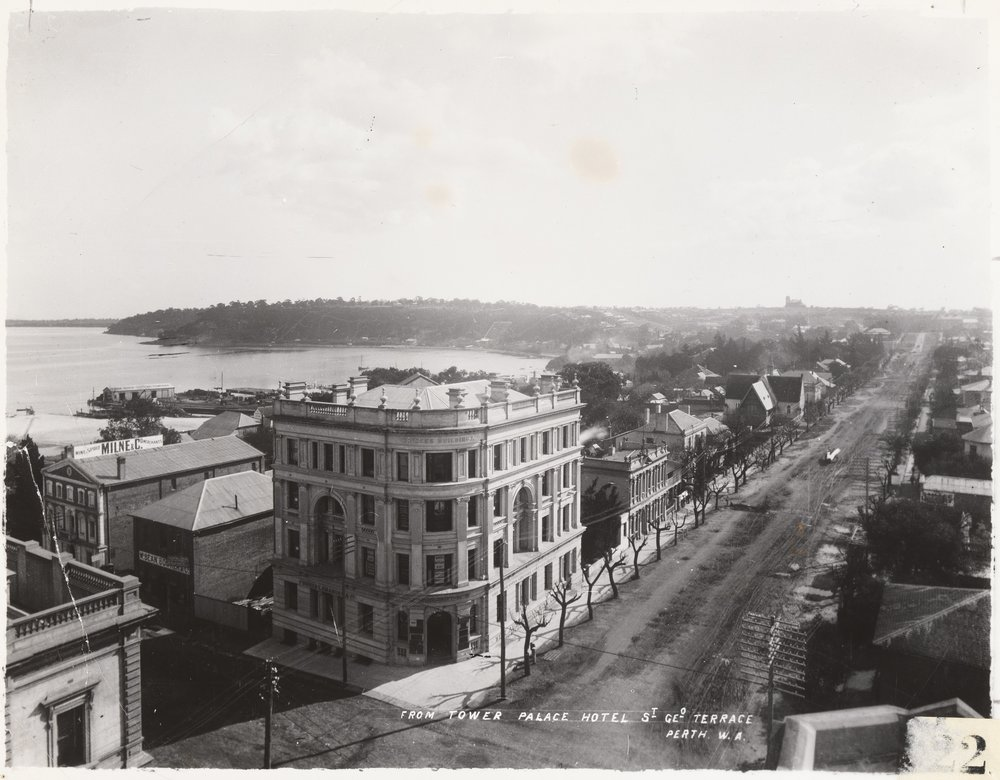 St George's Terrace, from the tower of the Palace Hotel, Perth,Western Australia, 1898. Image courtesy of State Library of Western Australia BA533/1