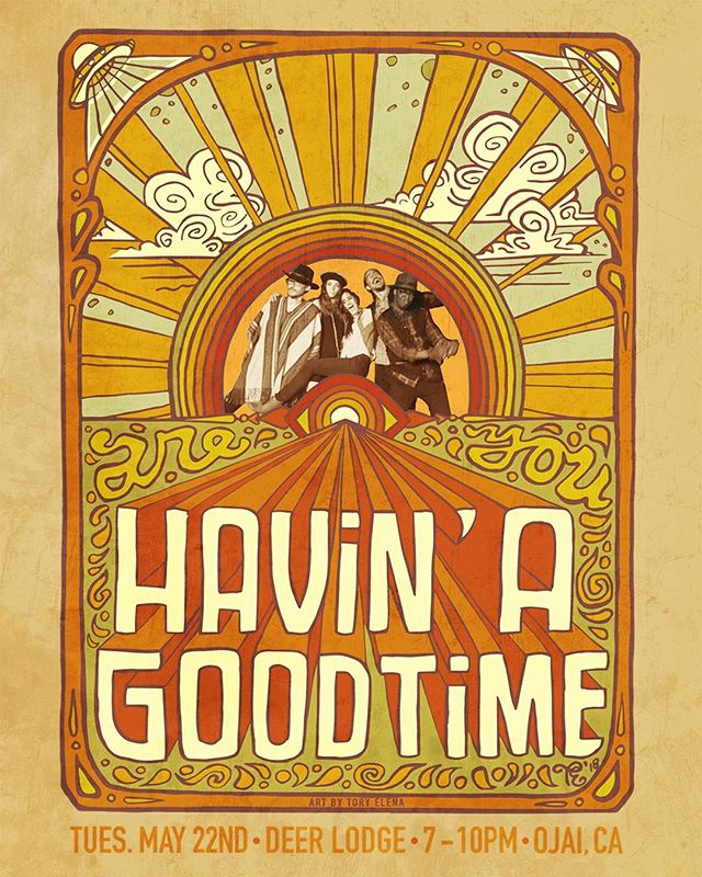Tonight! @havinagoodtimeband at @ojaideerlodge come get down! Music 7-9pm! #venturamusic #ojaideerlodge #ojaimusic #funk #soul #rnb #reggae #blues poster by @toryelena #toryelenaart