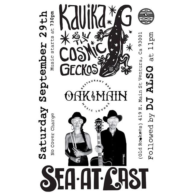 VENTURA! It's been a hot minute! We are playing a bran-spankin-new venue in the heart of downtown THIS SATURDAY! 7:30 -9pm then our good homie @kavikag_kosmicgeckos will rock the stage. #venturamusic #seastlast #kavikagandthecosmicgeckos #rocknroll #oakandmain #livemusic