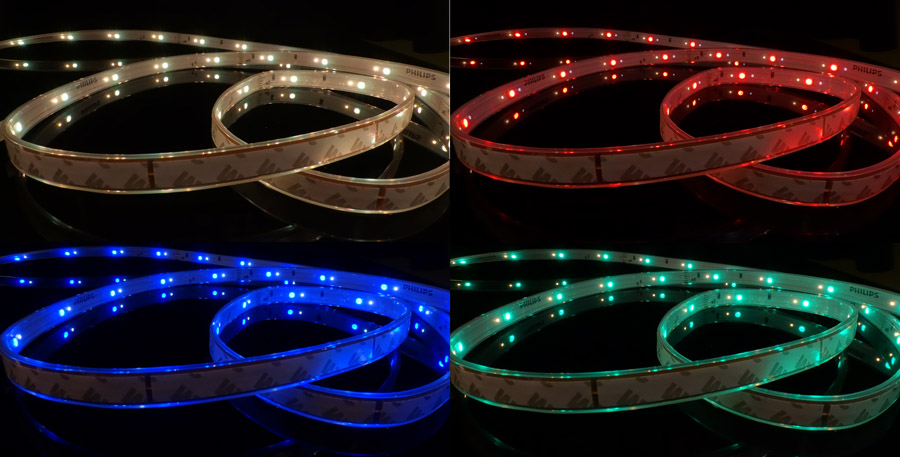 Four out of the millions of shades of color that the Lightstrip Plus is capable of producing.