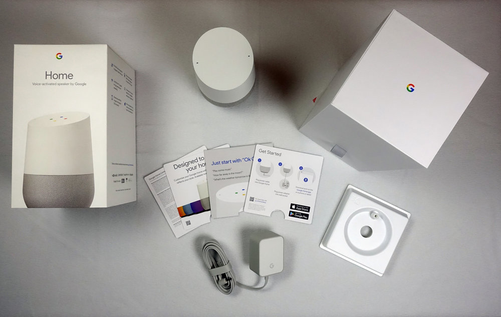 Everything included in the Google Home box.