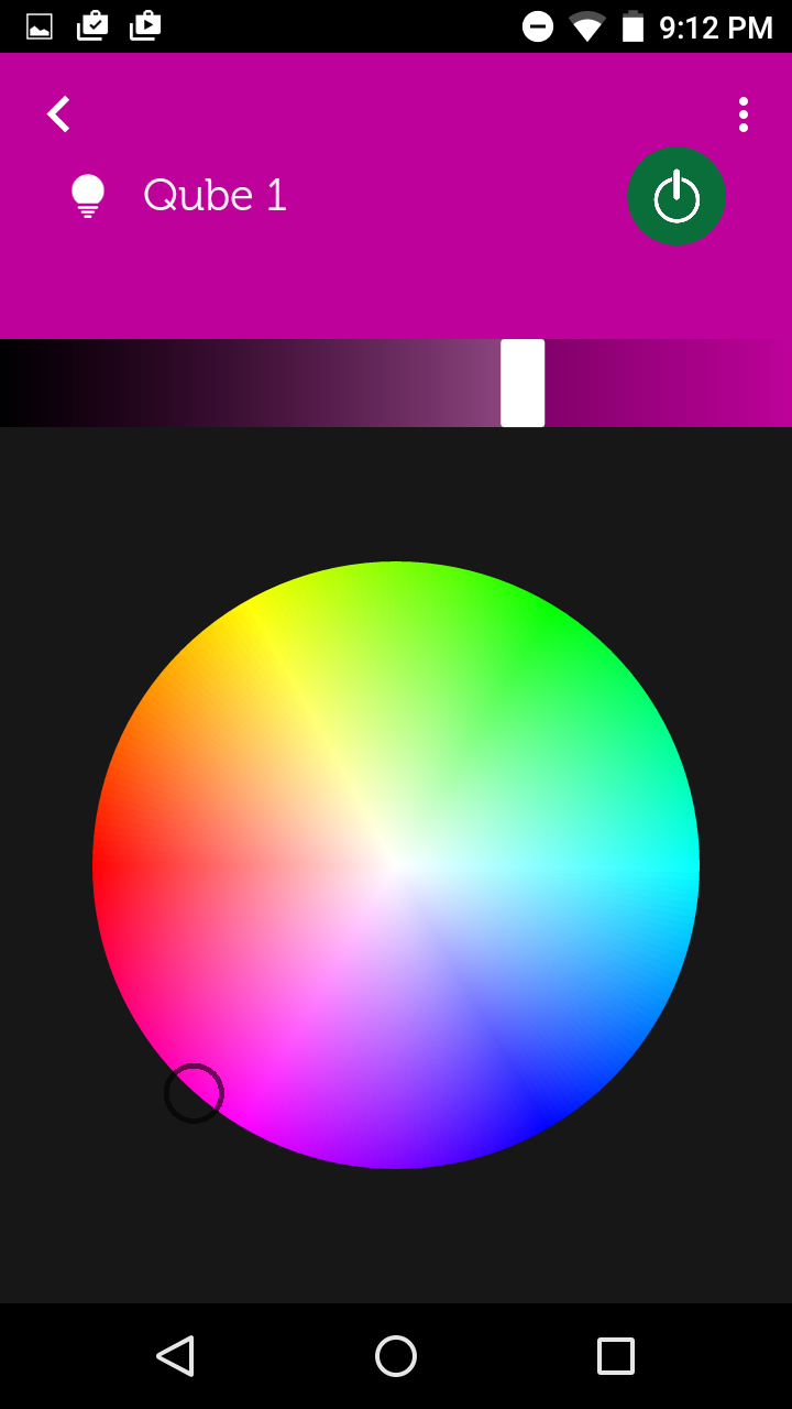 Color selection wheel in the Qube app