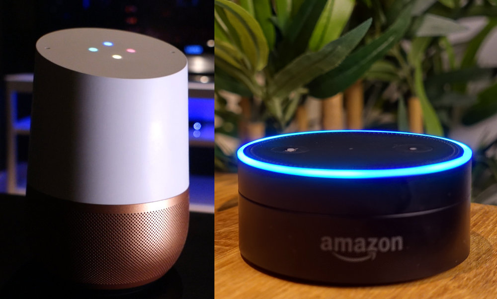 Google Home and 1st-gen Amazon Echo Dot