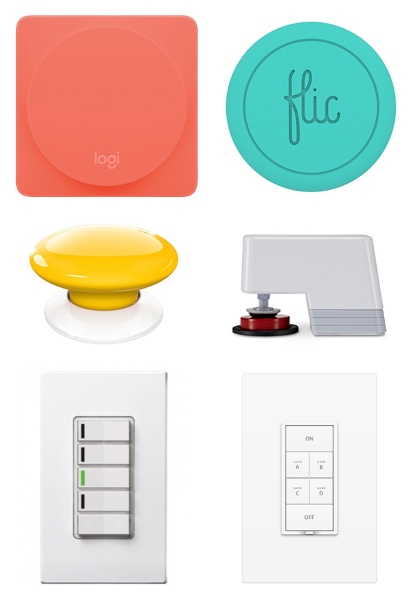 "Logitech Pop Home Switch, Flic button, Fibaro's ""The Button"", MicroBot Push, Leviton Z-Wave Controller, Insteon 6-Button Keypad"
