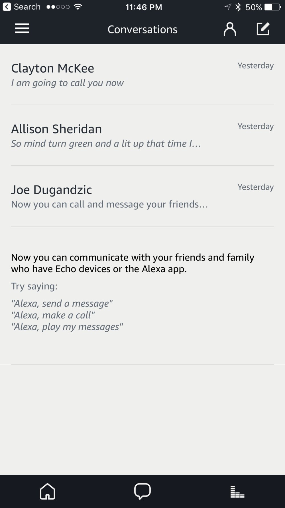 "The home screen for ""Conversations"", lists Contacts you've talked to"